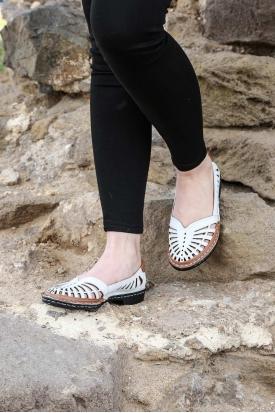 Hakiki Deri Beyaz-Taba Kadın Comfort Ayakkabı 100-130