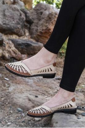 Hakiki Deri Bej-Taba Kadın Comfort Ayakkabı 100-130