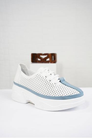 Hakiki Deri Beyaz-Mavi Kadın Comfort Ayakkabı 221100102