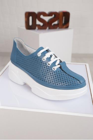 Hakiki Deri Mavi Kadın Comfort Ayakkabı 221100102