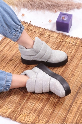 Gümüş Simli Kadın Sneaker Bot 103-600-2
