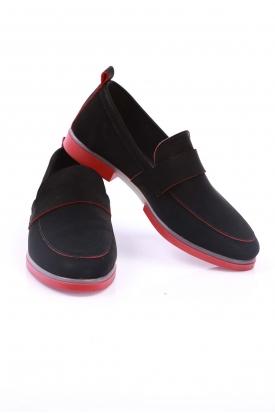 Siyah Nubuk-Kırmızı Kadın Klasik Ayakkabı 202108101