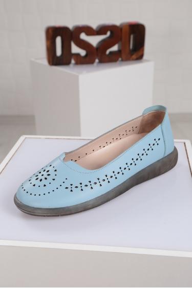 Hakiki Deri Bebe Mavi Kadın Sneaker Ayakkabı 221108105