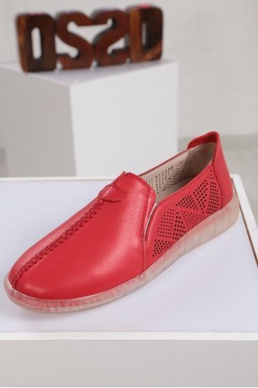 Hakiki Deri Kırmızı Kadın Sneaker Ayakkabı 221108106
