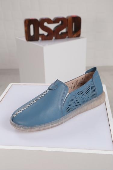 Hakiki Deri Kot Mavi Kadın Sneaker Ayakkabı 221108106