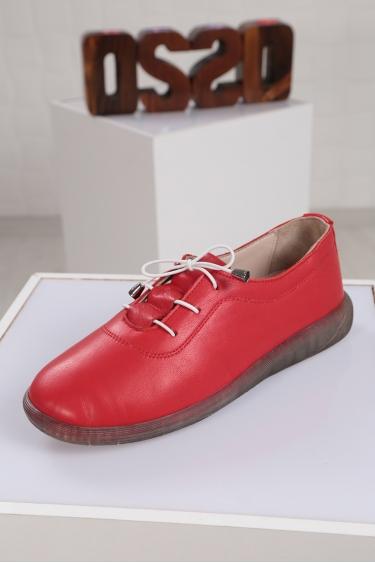 Hakiki Deri Kırmızı Kadın Sneaker Ayakkabı 221108107