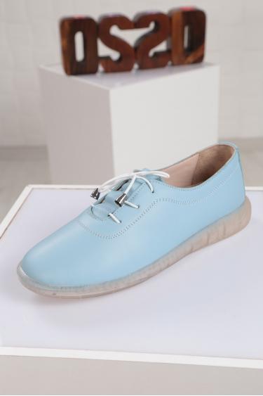 Hakiki Deri Bebe Mavi Kadın Sneaker Ayakkabı 221108107