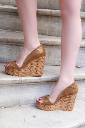 Hakiki Deri Bronz Simli Kadın Burnu Açık Ayakkabı 201110603