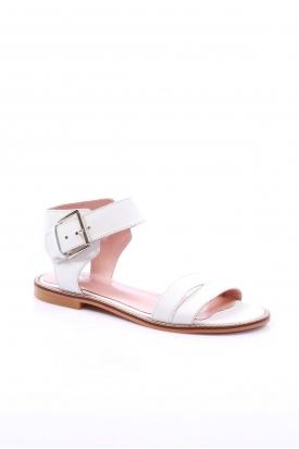 Hakiki Deri Beyaz Kadın Düz Sandalet 201110605