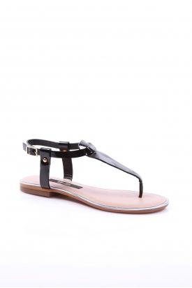 Hakiki Deri Siyah Rugan Kadın Düz Sandalet 201110606