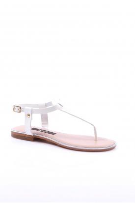 Hakiki Deri Beyaz Rugan Kadın Düz Sandalet 201110606