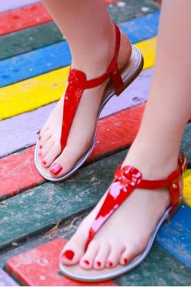 Hakiki Deri Kırmızı Rugan Kadın Düz Sandalet 201110606