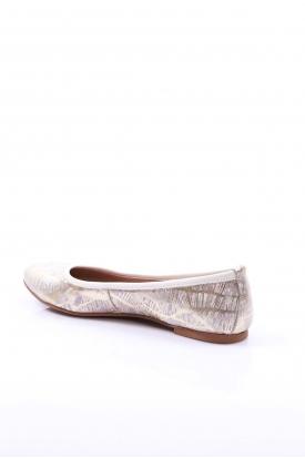 Hakiki Deri Altın-Lila Kadın Babet Ayakkabı 201110607