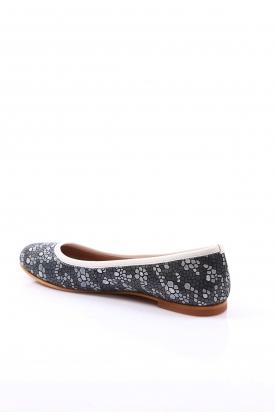 Hakiki Deri Gri Mozaik Kadın Babet Ayakkabı 201110607