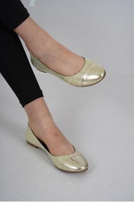Hakiki Deri Yeşil-Altın Baskılı Kadın Babet Ayakkabı 201110608