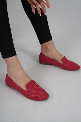 Hakiki Deri Fuşya Yılan Kadın Babet Ayakkabı 201110609