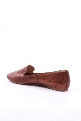 Hakiki Deri Bakır Kırışık Kadın Babet Ayakkabı 201110609