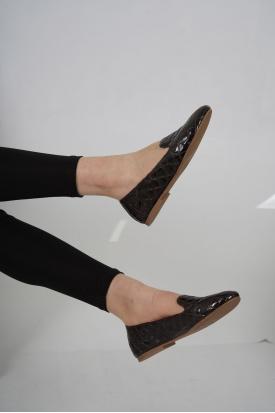 Hakiki Deri Kahve Kroko Kadın Babet Ayakkabı 201110609