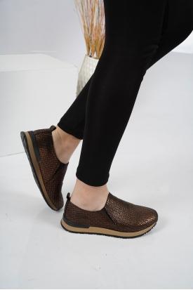 Hakiki Deri Bakır Puzzle Kadın Sneaker Ayakkabı 201110610