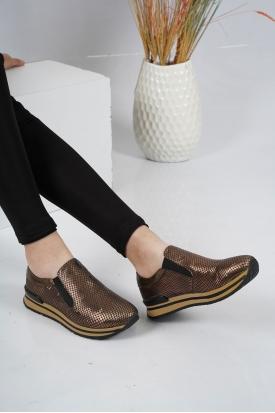 Hakiki Deri Bakır Yılan Kadın Sneaker Ayakkabı 201110619