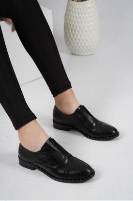 Hakiki Deri Siyah Kırık Kadın Oxford Ayakkabı 201110623
