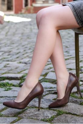 Hakiki Deri Vizon Kadın Stiletto Ayakkabı 201110624