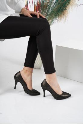 Hakiki Deri Siyah Kadın Stiletto Ayakkabı 202110101