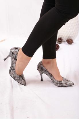 Hakiki Deri Mavi Piton Kadın Stiletto Ayakkabı 202110101