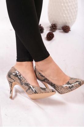 Hakiki Deri Bej Piton Kadın Stiletto Ayakkabı 202110101