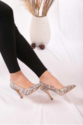 Hakiki Deri Bej Zebra Kadın Stiletto Ayakkabı 202110101