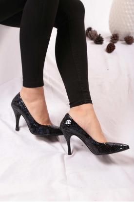 Hakiki Deri Laci Piton Kadın Stiletto Ayakkabı 202110101