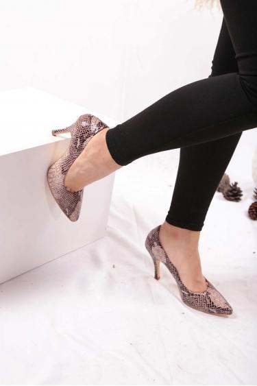 Hakiki Deri Kahve Piton Kadın Stiletto Ayakkabı 202110101