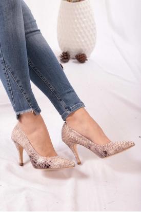 Hakiki Deri Bej Anakonda Kadın Stiletto Ayakkabı 202110101