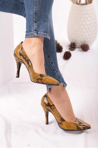 Hakiki Deri Sarı Piton Kadın Stiletto Ayakkabı 202110101