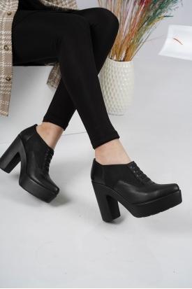 Hakiki Deri Siyah Kadın Topuklu Ayakkabı 202110102