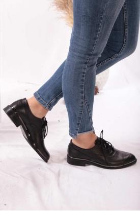Hakiki Deri Siyah Kadın Oxford Ayakkabı 202110103