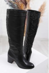 Hakiki Deri Siyah Kadın Topuklu Çizme 212110311