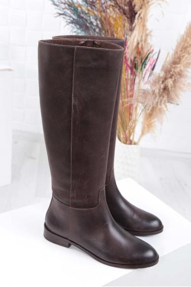 Hakiki Deri Kahve Natural Kadın Topuklu Çizme 212110312