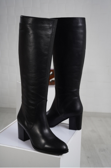 Hakiki Deri Siyah Kadın Topuklu Çizme 212110313