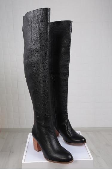 Hakiki Deri Siyah Floter Kadın Topuklu Çizme 212110310