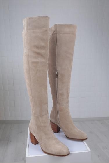 Hakiki Deri Bej Süet Kadın Topuklu Çizme 212110310