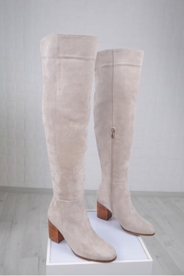 Hakiki Deri Açık Bej Süet Kadın Topuklu Çizme 212110310