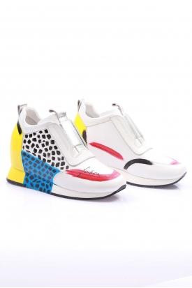 Hakiki Deri Beyaz Kadın El Boyama Ayakkabı 114-5000