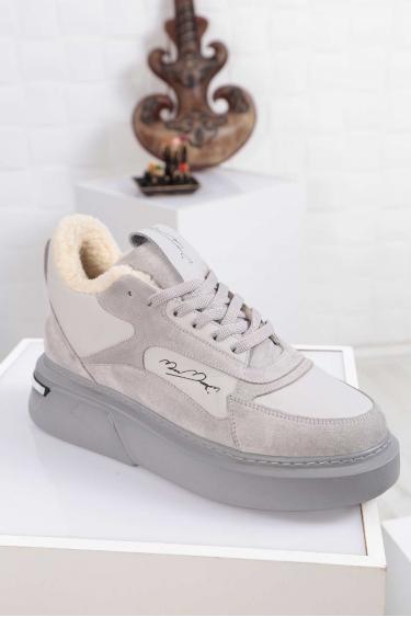 Hakiki Deri Kürklü Gri-Gri Süet Merinos Kadın Sneaker Ayakkabı 212114113