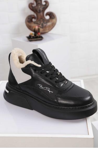 Hakiki Deri Siyah-Siyah mat-Gri Merinos Kadın Sneaker Ayakkabı 212114104