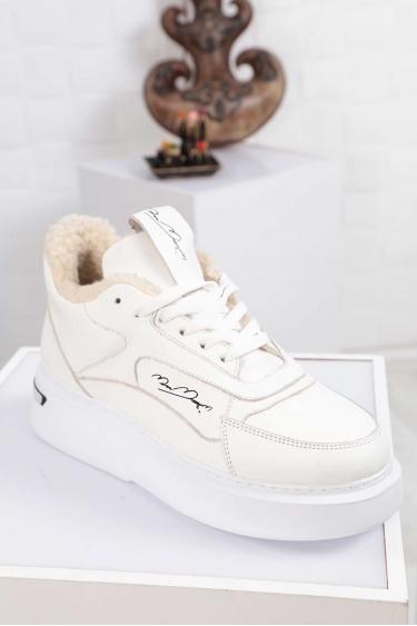Hakiki Deri Beyaz-Beyaz Kadın Sneaker Ayakkabı 212114104