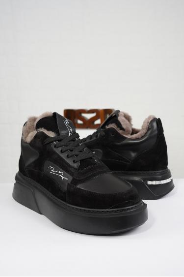 Hakiki Deri Siyah-Siyah Süet Kadın Sneaker Ayakkabı 212114104
