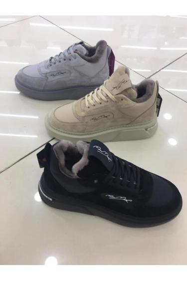 Hakiki Deri Kürklü Beyaz-Beyaz Kadın Sneaker Ayakkabı 212114113