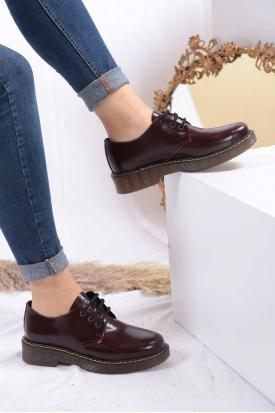 Hakiki Deri Bordo Veg Kadın Oxford Ayakkabı 202124224