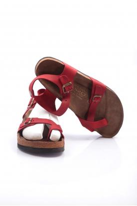 Hakiki Deri Crazy Kırmızı Kadın Spor Sandalet 202124606